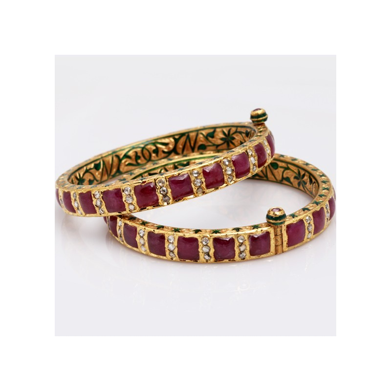 Minakari Ruby Uncut Diamonds Bangle Ahmedabad Jewellery Ping