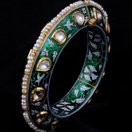 A Pair Of Diamond Polki Enamelled Kada