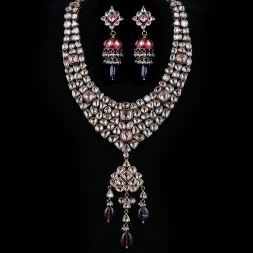 A Polki Diamond & Meenakari Necklace Dull
