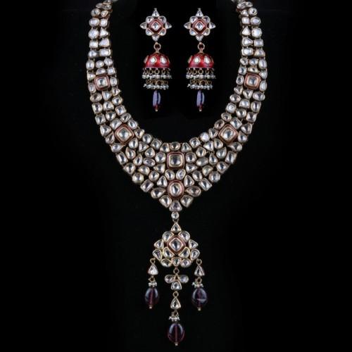 A Polki Diamond & Meenakari Necklace Dull