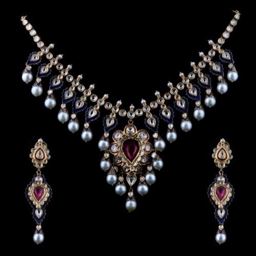 A Tourmaline & 'polki' Diamond Necklace