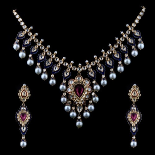 A Tourmaline & 'polki' Diamond Necklace Earrings