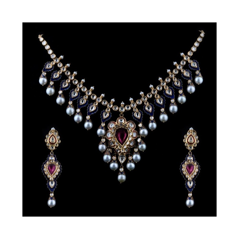 A Tourmaline & 'polki' Diamond Necklace