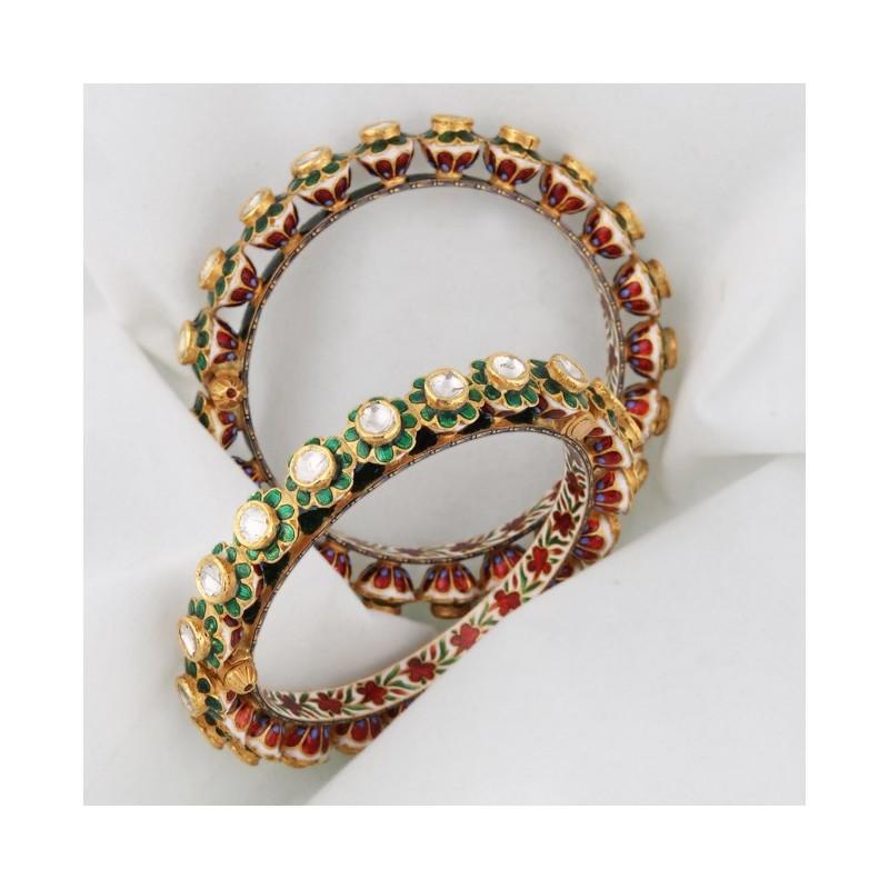 A 'Polki' Diamond & Enamel 'Kada' Bangles