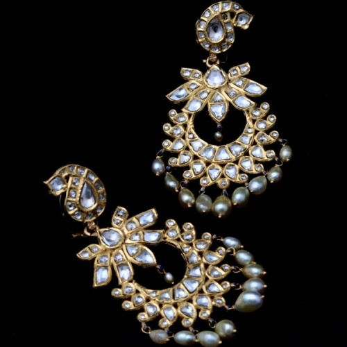 A Pair of 'Polki' Diamond Chandbali