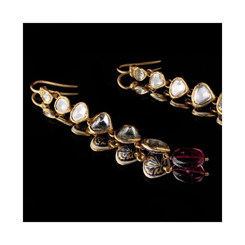 Polki diamond earring