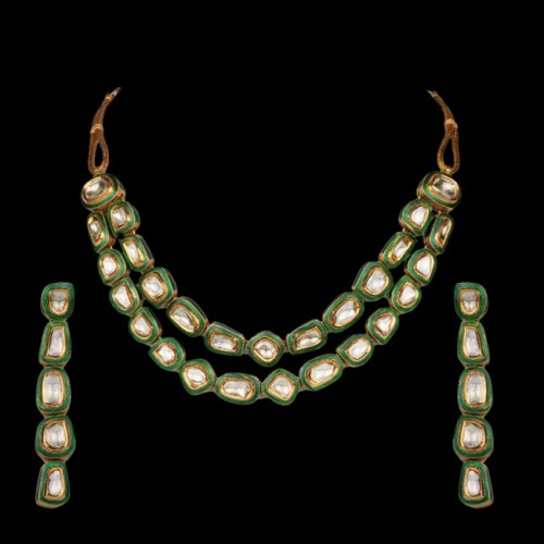 A 'Polki' Diamond & Enamel Necklace