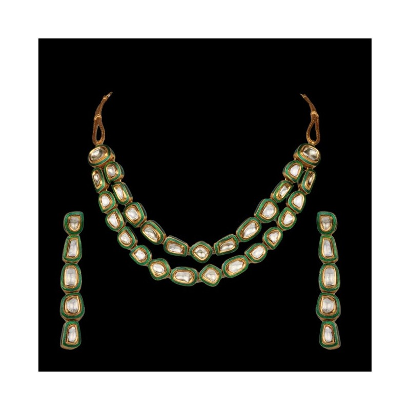 A Period 'Polki' Diamond & Enamel Necklace